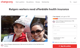 Sign and Share: Rutgers workers need affordable health insurance